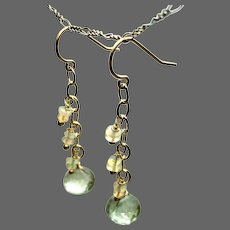 Prasiolite and Ethiopian Opal dangling Gold filled drop earrings by Gem Bliss Jewelry