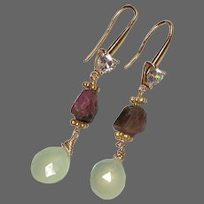 Tourmaline Gem and Prehnite fancy Heart Shape Zircon Ear Hooks