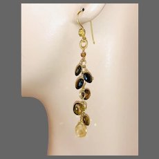Petro Tourmaline long Chandeliers, Gold-filled, Vermeil Round Chandelier Earrings, by Gem Bliss Jewelry