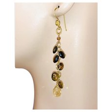 Petro Tourmaline long Chandeliers, Gold-filled, Vermeil Round Chandelier Earrings, by Gem Bliss Jewelry
