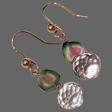 Rose Gold filled Pink and green Watermelon Tourmaline Slice Earrings by Gem Bliss Jewelry