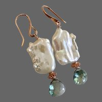 Topaz and Pearl earrings, Freshwater Cultured Baroque Pearl Green Topaz Rose Gold filled earrings by Gem Bliss