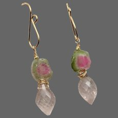 Watermelon Tourmaline Rose Quartz Pink and Green gem slice Earrings by Gem Bliss Jewelry