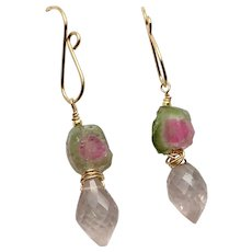 Watermelon Tourmaline Rose Quartz Pink and Green gem slice Earrings by Gem Bliss Jewelry