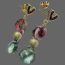 Pink and Blue Tourmaline Slice and Topaz, Indicolite Watermelon Tourmaline on petite heart drop Gold filled Earrings