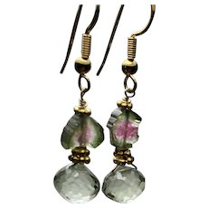 Sparkling Prasiolite and Watermelon Tourmaline Slices dangling Gold filled drop earrings by Gem Bliss Jewelry