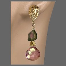 Watermelon Tourmaline pink briolettes on Gold filled oval filigree Stud Silver Posts Earrings by Gem Bliss Jewelry