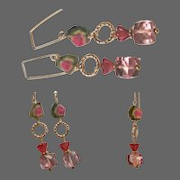Pink and green Watermelon Tourmaline Slice Pink Cube Earrings by Gem Bliss Jewelry