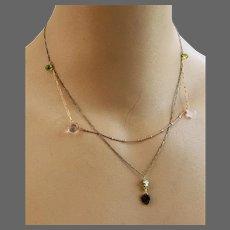 Multi-layer Tiny Tourmaline Peridot pink quartz mixed metals pendant necklace by Gem Bliss Jewelry
