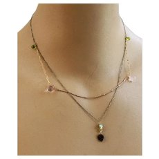 Multi-layer Tiny Tourmaline Peridot pink quartz mixed metals pendant necklace by Gem Bliss Jewelry