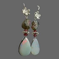 Boulder Opal Raw Watermelon Tourmaline Garnets Sterling Silver flower blossom hook Earrings by Gem Bliss Jewelry