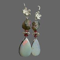 Boulder Opal Raw Watermelon Tourmaline Garnets Sterling Silver flower blossom hook Earrings by Gem Bliss Jewelry