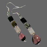 Pink Watermelon Tourmaline dangle drop Silver Hook all Tourmaline Earrings by Gem Bliss Jewelry