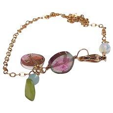 Watermelon Tourmaline Gem Slices Bracelet, Dainty Gold Bracelet, charm bracelet, Birthday, Bridal, Gem Bliss Jewelry