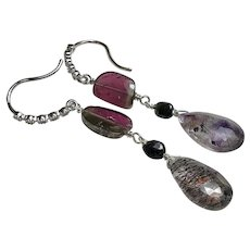 Pink and Black Watermelon Tourmaline sophisticated Silver Hook Earrings by Gem Bliss Jewelry