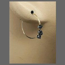 Genuine Raw Black Diamond Hoop Earrings, Birthday gift, Graduation Earrings, Bridesmaid gift by Gem Bliss Jewelry.