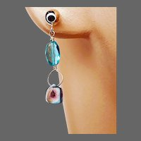 Silver Blue Watermelon Tourmaline Apatite Dainty Post Stud Earrings by Gem Bliss Jewelry