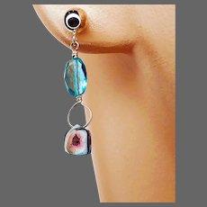 Silver Blue Watermelon Tourmaline Apatite Dainty Post Stud Earrings by Gem Bliss Jewelry