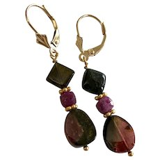 Black Tourmaline and Ruby 14k Gold lever-back earrings by Gem Bliss Jewelry