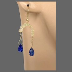 Opal Kyanite Earrings 14K Gold-filled Earrings by Gem Bliss Jewelry
