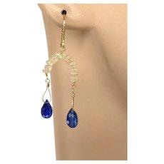 Opal Kyanite Earrings 14K Gold-filled Earrings by Gem Bliss Jewelry
