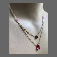 Raw Tourmaline, Pink Topaz, Rose-pink Quartz Gold filled 2 strand pendant necklace by Gem Bliss Jewelry