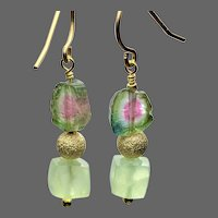 Green Prehnite and Watermelon Tourmaline Slices dangling Gold filled drop earrings by Gem Bliss Jewelry