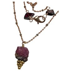Raw Tourmaline, Garnets, Rose Gold-filled solitaire pendant necklace by Gem Bliss Jewelry