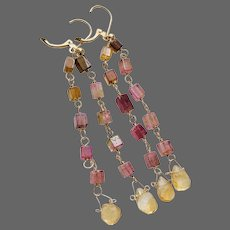 Long Tourmaline Earrings, Gold Rainbow Tourmaline drop Citrine Earrings by Gem Bliss Jewelry