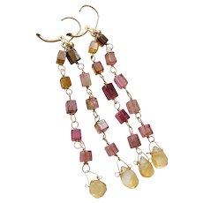 Long Tourmaline Earrings, Gold Rainbow Tourmaline drop Citrine Earrings by Gem Bliss Jewelry
