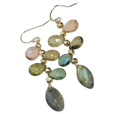 Tourmaline and Labradorite Blue, Green, Whiskey, amber, peach Tourmaline briolettes on Gold-filled hook earrings