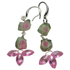 Double Watermelon Tourmaline Gem Slices Sterling Silver Hook Earrings with pink Zircons by Gem Bliss Jewelry