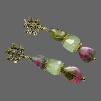 Watermelon Tourmaline Gem Slice Earrings Prehnite Cubes Matte Gold blossom Stud Post Earrings by Gem Bliss Jewelry
