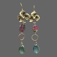 Bi-color Watermelon Tourmaline detailed Leaves Earrings, Unique Blue Pink Watermelon Tourmaline and Moss Aquamarine earrings