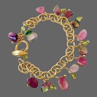 Watermelon Tourmaline Bracelet, Green and Pink Tourmaline Charm Bracelet 14K Gold filled handmade by Gem Bliss