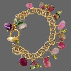 Watermelon Tourmaline Bracelet, Green and Pink Tourmaline Charm Bracelet 14K Gold filled handmade by Gem Bliss
