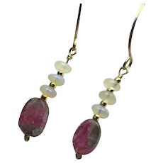 Opal and Watermelon Tourmaline pink, blue, with Ethiopian Opal Gold filled dainty Hoop Earrings