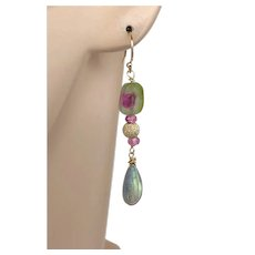 Tourmaline Slices and Labradorite Dangle Drop Gold-filled Earrings by Gem Bliss Jewelry