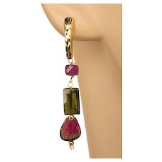 14K Gold Pink Black Watermelon Tourmaline dangle drop Stud Post with Rubies Earrings by Gem Bliss Jewelry
