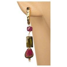 14K Gold Pink Black Watermelon Tourmaline dangle drop Stud Post with Rubies Earrings by Gem Bliss Jewelry