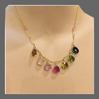 "Rainbow Tourmaline Bib Necklace Multicolor Tourmaline Gold Scallop Necklace 16"" Rainbow Necklace by Gem Bliss Jewelry"