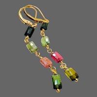 Watermelon Colors Green Tourmaline Earrings, Pink Tourmaline, Black Tourmaline, long gemstone earrings, by Gem Bliss Jewelry
