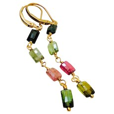 Watermelon Colors Green Tourmaline Earrings, Pink Tourmaline, Black Tourmaline, long gemstone earrings, by Gem Bliss Jewelry