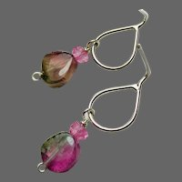 Watermelon Tourmaline Slice dainty teardrop Sterling Silver Stud Post, dangle earrings by Gem Bliss Jewelry