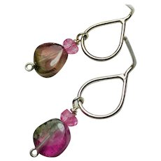 Watermelon Tourmaline Slice dainty teardrop Sterling Silver Stud Post, dangle earrings by Gem Bliss Jewelry