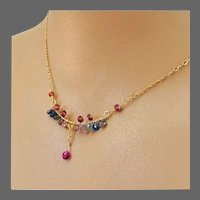 Rainbow Sapphire encrusted Bar-style 14k Gold-filled 16-inch Necklace by Gem Bliss Jewelry