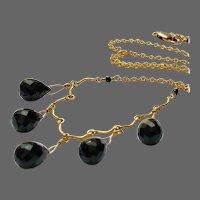 Black Onyx necklace Bib necklace, 14k Gold-filled Scallop Camp Sundance by Gem Bliss Jewelry