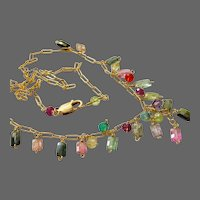 Rainbow Tourmalines 14k Gold filled bib style 16 inch Necklace by Gem Bliss Jewelry