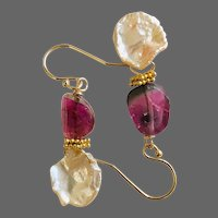 Watermelon Tourmaline and Freshwater Petal Pearl dainty Earrings by Gem Bliss Jewelry