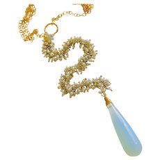 Glowing Opalite Lavalier necklace with plunging 6-1/2-inch drop chain pendant by Gem Bliss Jewelry